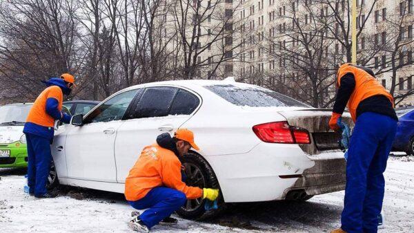 Во время зимы мойка машины